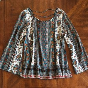 Patrons of Peace boho backless blouse EUC